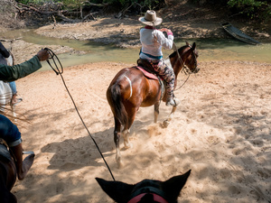 A cowboy seen riding his horse at the El Paraíso farm. Colombian cowboys taking care of the cows in the region of Casanare, eastern Colombia, between the Andes, the Orinoco River and the border with Venezuela. These are Plains and pastures with wide rivers and marshes, a region of big biodiversity. But nowadays, it is in danger because of climate change.