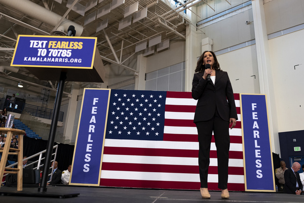 Democratic presidential candidate U.S. Senator Kamala Harris (D-CA) seen speaking at a campaign rally in Los Angeles. This was Harris's first campaign rally in Los Angeles since she announced her candidacy for the President of the United States. The candidate spoke about the need to combat gun violence, raise teacher pay and provide middle class tax relief.