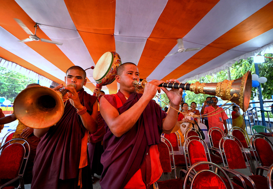 Buddhist Monk's of Kalimong are seen performing their traditional prayer with musical instruments during Buddha Purnima celebration in kolkata. Buddha's birthday is a holiday traditionally celebrated in most of East Asia to commemorate the birth of the Prince Siddhartha Gautama or Gautama Buddha who is the founder of Buddhism.