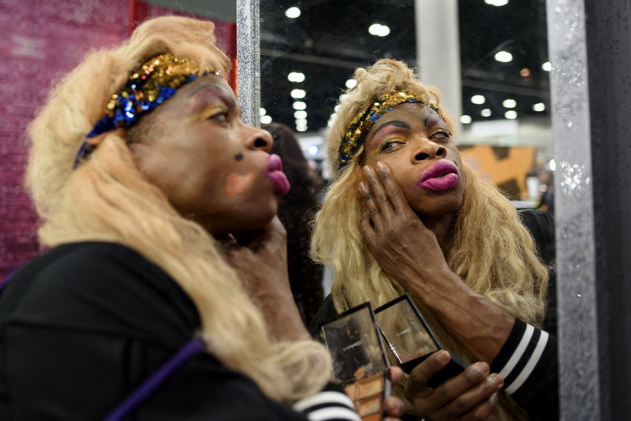 'Reason', an attendee, puts on make-up at RuPaul's DragCon LA 2019 in Los Angeles, California. The annual three-day RuPaul's DragCon is the world's largest drag culture convention and takes place in New York and Los Angeles.