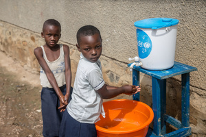Children wash their hands with chlorinated water at a primary school as part of a preventive initiative aimed at halting the spread of Ebola in Beni, . The DRC is currently experiencing the second largest Ebola outbreak in recorded history, and the response is hampered by it being in an active conflict zone. More than 1,400 people have died since August 2018.