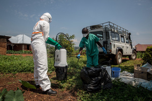 World Health Organization workers decontaminate the house of a pastor who has just tested positive for Ebola in Beni. The DRC is currently experiencing the second largest Ebola outbreak in recorded history, and the response is hampered by it being in an active conflict zone. More than 1,400 people have died since August 2018.