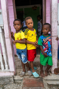 Children pose for a photo at the La Boquilla during a clean-up session in Cartagena. Fundacion CoraJeM works in educating and creating opportunities for the people in need. Teaching them culture and values, it allows them to build up a better future and live with more dignity.