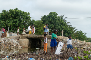 Children collect plastic waste at the La Boquilla during a clean-up session in Cartagena. Fundacion CoraJeM works in educating and creating opportunities for the people in need. Teaching them culture and values, it allows them to build up a better future and live with more dignity.