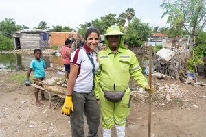 Organiser Eugenia Assaf with a volunteer pose for a photo at the La Boquilla during a clean-up session in Cartagena. Fundacion CoraJeM works in educating and creating opportunities for the people in need. Teaching them culture and values, it allows them to build up a better future and live with more dignity.