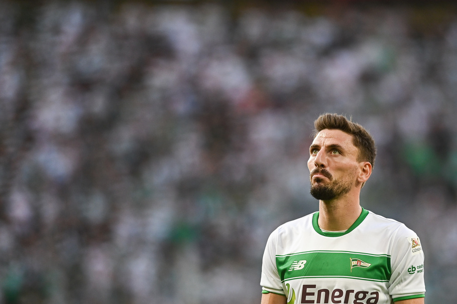 Filip Mladenovic from Lechia Gdansk seen in action during the UEFA Europa League Qualifiers match between Lechia Gdansk and Brondby IF at Energa Stadium. (Final score; Lechia Gdansk 2:1 Brondby IF)