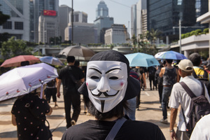 A demonstrator wears an Anonymous masks during the protest. Thousands of anti-china protesters marched and clashed with police in Hong Kong as the party celebrates its 70th year of rule.