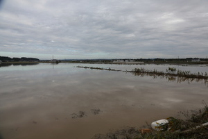 View of a flooded area close to Mito Kita Smart Interchange, Inundation depth 7m50cm. The death toll rises to 48, two days after Typhoon Hagibis passed through Japan while 15 are still missing and more than 100 injured as thousands of troops are deployed on rescue missions across the country.