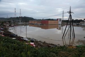 Submerged homes by the Naka River flooding following the Typhoon Hagibis. The death toll rises to 48, two days after Typhoon Hagibis passed through Japan while 15 are still missing and more than 100 injured as thousands of troops are deployed on rescue missions across the country.