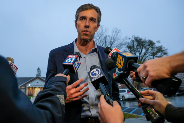 Presidential candidate Beto O'Rourke talks to media about gun violence in Newtown. Taking a short break from campaigning, Beto O'Rourke spent the evening discussing gun violence, and gun control with gun control advocates, and students in Newtown, the town where the 2012 Sandy Hook Elementary school shooting that killed 28 people occurred.