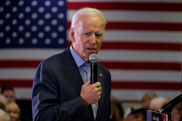 Presidential candidate former Vice President Joe Biden speaks to his supporters at the VFW in Oelwein.