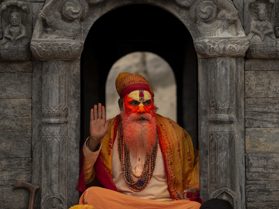A Sadhu (holy man) offers blessings during the festival at Pasupatinath Temple in Kathmandu. Maha Shivaratri is a Hindu festival celebrated annually in honor of Lord Shiva and in particular, marks the night when Shiva performs the heavenly dance.