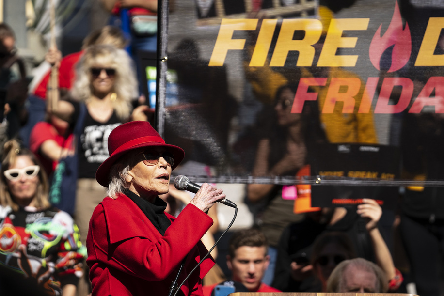 LOS ANGELES, UNITED STATES - FEBRUARY 7, 2020: Actress and activist Jane Fonda speaks during a Fire Drill Friday's climate change rally outside the Los Angeles City Hall.