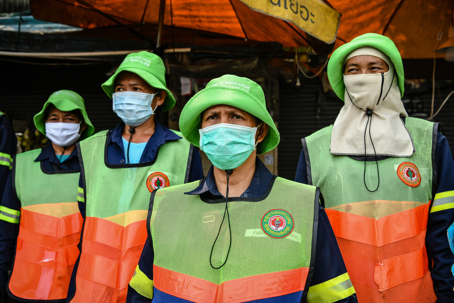 Volunteers wearing protective masks gather to clean the Chatuchak Weekend Market as a preventive measure against the spread of Coronavirus in Bangkok. Thailand has so far reported 322 cases of COVID-19 coronavirus with most of the cases reported in the Capital city of Bangkok.