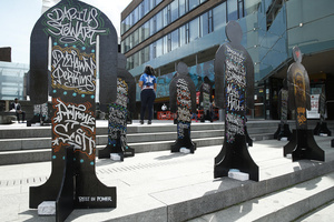 An art installation is displayed in the Fulton Street area of Bedford Stuyvesant section of Brooklyn, a borough of New York City.  The Black Lives Matters protest installation executed by a group of anonymous artists is on display to serve as a reminder of those who died at the hands of the police.