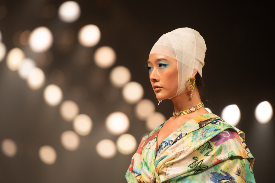 A model showcases Nefreretta's collection during the Sirivannavari Spring-Summer 2021 at Siam Paragon Shopping Center.