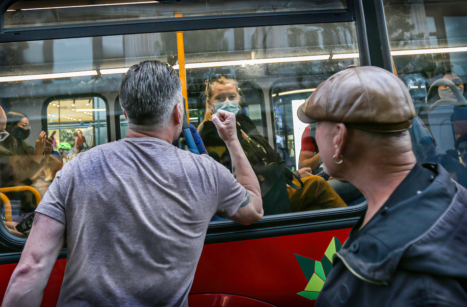 A bus passenger wearing a face mask is being confronted by freedom protesters during the demonstration.Protesters held a demonstration against the mainstream media bias, covid restrictions, vaccine passports, Covid vaccination for children and the loss of freedom under the Coronavirus Act.