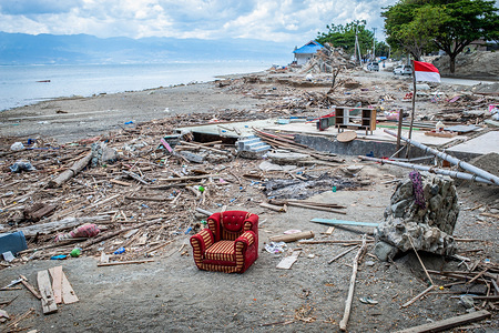 General view of the damage of the earthquake and tsunami in Donggala beach in Palu. A deadly earthquake measuring 7.5 magnitude and the tsunami wave caused by it has destroyed the city of Palu and much of the area in Central Sulawesi. According to the officials, death toll from devastating quake and tsunami rises to 1,480, around 800 people in hospitals are seriously injured and some 62,000 people have been displaced in 24 camps around the region.