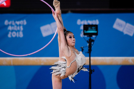 Kim Mu Ye of North Korea seen in action during the game where she  finished in the 15th position in the rhythmic gymnastics competitions.