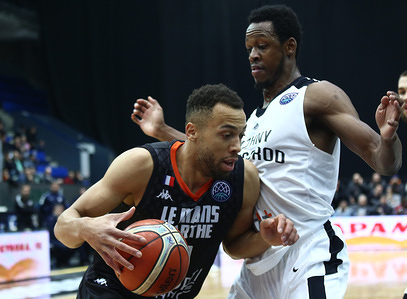 Roderick Odom (BCNN) and Demitrius Conger (Le Mans) seen in action during the game. Basketball Champions League: BC Nizhny Novgorod (BCNN) from Russia vs Le Mans from France. The game ended with the score 85:71.