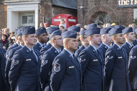 Members of the Royal Air Force and American Air Force take part in the Remembrance Sunday parade.  Remembrance Sunday is a day for the United Kingdom to remember and honour those who sacrificed their lives to protect the freedom of the British people.