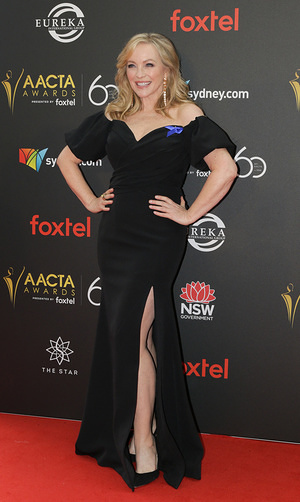 Rebecca Gibney seen on the red carpet during the 60th AACTA Awards in Sydney.