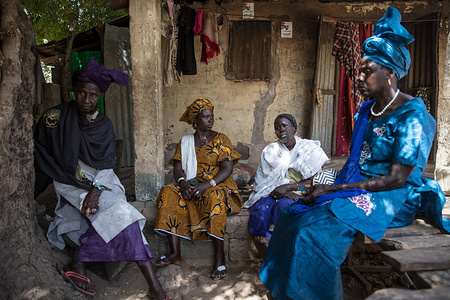 """Four women, all victims of witch hunts in Sintet in 2009, seen speaking about their experiences.  Former Gambian dictator Yahya Jammeh ordered witch hunts in the countryside in The Gambia, between 2009 and 2016, when he was voted out of power. Victims of """"witch hunts"""" were forced to drink a hallucinogenic liquid, and many say they are still suffering from bad health related to it."""