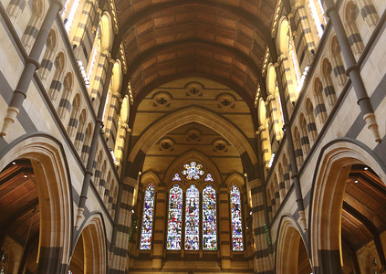 Interior view of St Paul's Cathedral in the city center of Melbourne, Victoria, Australia.