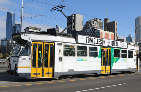 A tram seen in the city center of Melbourne, Victoria, Australia.