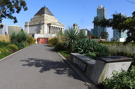 The Shrine of Remembrance in the city center of Melbourne, Victoria, Australia.