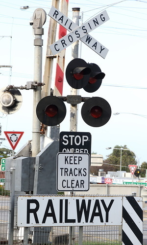 Railway crossing sign seen in Melbourne.