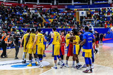 Maccabi Tel Aviv players are seen shaking hands after the match defeating CSKA Moscow in Round 18 of the Turkish Airlines Euroleague game of the 2018-2019 season.  Maccabi Tel Aviv beat CSKA Moscow, 93-76.