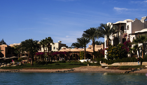Villas seen on the Red Sea on a sunny day in Hurghada.