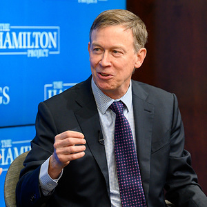 """John Hickenlooper, Former Governor, of the State of Colorado seen speaking at the forum on """"Expanding Opportunity at State & Local Levels through Evidence-Based Policy making"""" at the Brookings Institution in Washington, DC."""
