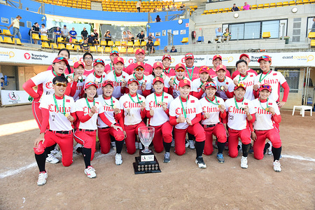 China team seen posing with the championship trophy during the 2019 Asia Pacific Cup. China won over Chinese Taipei 4:3 to take the championship.