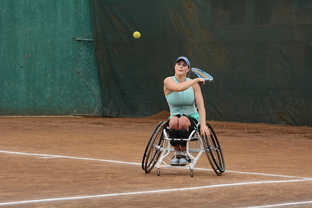 France Wheelchair Tennis player Emmanuelle Morch seen in action against South Africa's Mariska Venter during Nairobi Open Wheelchair Tennis Tour.  Morch won 7-6(8) 6-4  to take Ladies Single Championship.