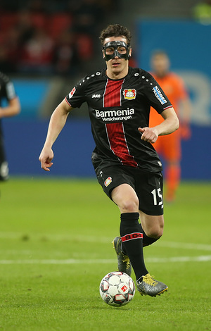 Julian Baumgartlinger of Bayer Leverkusen seen in action during the Bundesliga soccer match between Bayer Leverkusen Vs Fortuna Dusseldorf at the BayArena, Leverkusen. ( Final score; Bayer Leverkusen 2:0 Fortuna Dusseldorf )