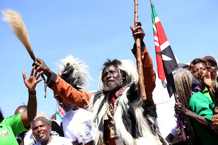 Some of the freedom fighters who pulled together under the movement seen reciting songs during the commemoration. Kenya's freedom fighters against British colonial rule called 'Mau Mau' commemorated the execution of their leader Dedan Kimathi on February 18, 1957. His body was buried at an unknown grave, widow Mukami Kimathi wants his grave disclosed and remains exhumed for a decent burial.