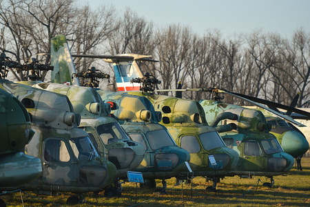 A view of the different versions of Mi-2 helicopters on display at the Polish Aviation Museum. The Polish Aviation Museum is located at the site of the former Krakow-Rakowice-Czyzyny Airport, established in 1912, one of the oldest in the world. The Museum collection consists of over 200 aircraft, dating WW1, WW2 and a collection of all airplane types developed or used by Poland after 1945.