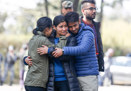 Family members of the Helicopter crash victims mourn as the bodies arrive from the crash site. Seven People including Nepal's Tourism and Civil Aviation Minister Rabindra Adhikari killed on February 27, in a helicopter crash, believed to be caused by bad weather, in the remote Taplejung district.