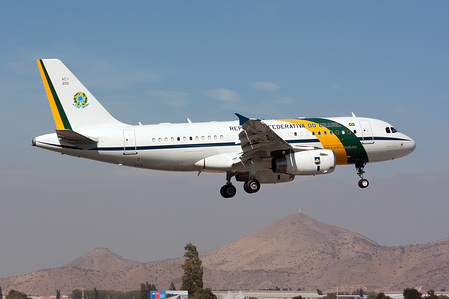 The Brasil Air Force Airbus VC-1A (319CCJ) seen about to land in Santiago with the Brazilian President Bolsonaro on board.