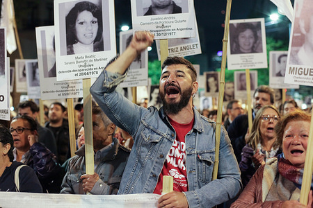 "A relatives of the disappeared in the military dictatorship of the 70s seen shouting slogans during the protest about truth and justice.  This Thursday  the Uruguayan people claim truth and justice about the events that occurred during the military dictatorship in Uruguay in the 70s, and demanded ""never again state terrorism""."