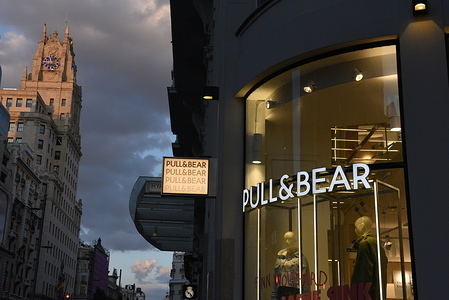 The Pull&Bear logo seen at a Pull&Bear Store in Madrid.