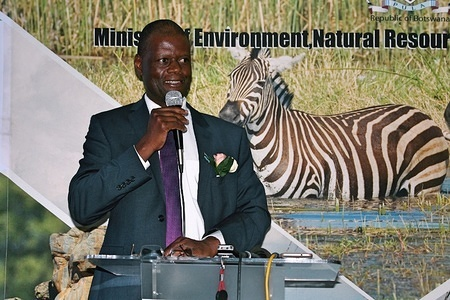 Joseph Mbaiwa, Professor and Former Director of the Okavango Research Institute (ORI) seen speaking during the 7th National Fire Management Conference. The 7th National Fire Management Conference which attracted delegates from Australia, Zimbabwe, South Africa and Namibia. The conference intends to come with strategies and best practices on fire management will be shared to assist Botswana to better tackle the 2019/20 fire season, it was held in Maun, Botswana.