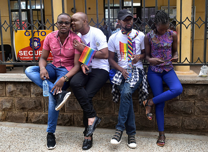 Members of the LGBT seen posing for photos after arriving for the court ruling. Lesbian, gay, bisexual, and transgender (LGBT) persons in Kenya face legal challenges. They filed a case in court pleading for their rights to be recognized and the court to abolish colonial era laws that criminalize gay sex. However, in the court ruling, the court upheld the laws.