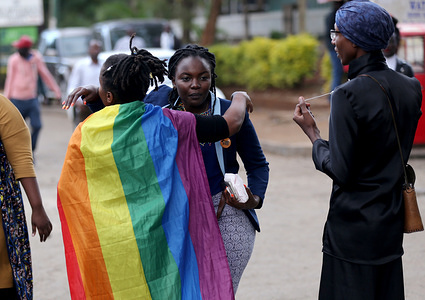 Members of the Lesbian, Gay, Bisexual and Transgender  (LGBT) seen reacting after Kenya's High Court ruled to uphold the British-era penal code that criminalises gay sex. LGBT community wanted the court to decriminalize consensual same sex but Judges Chacha Mwita, Roselyne Aburili and John Mativo in a unanimous decision declined.