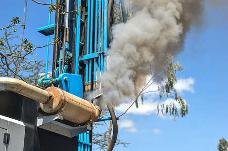 A water drilling rig emits plumes of smoke at an area with high water scarcity in Naivasha, Nakuru.  Smoke from vehicles has been blamed for the increasing air pollution which is also a cause of climate change. Poor air quality increases respiratory diseases putting the lives of millions of people under imminent threat from diseases like asthma, bronchitis and cancers. This year's World Environment Day theme is ''Beat Air Pollution''