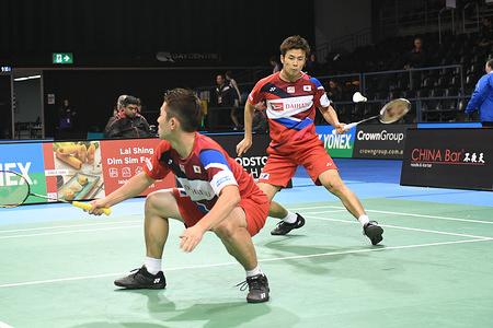 Takuro Hoki and Yugo Kobayashi (Japan) seen in action during the 2019 Australian Badminton Open Men's Doubles match against Keigo Sonoda and Takeshi Kamura (Japan).  Hoki and Kobayashi lost the match 19-21, 21-18, 16-21.