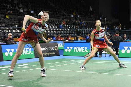 Ayaka Takahashi and Misaki Matsutomo (Japan) seen in action during the 2019 Australian Badminton Open Women's Doubles match against Jongkolphan Kititharakul and Rawinda Prajongjai (Thailand).  Takahashi and Matsumoto won the match 21-10, 21-11.