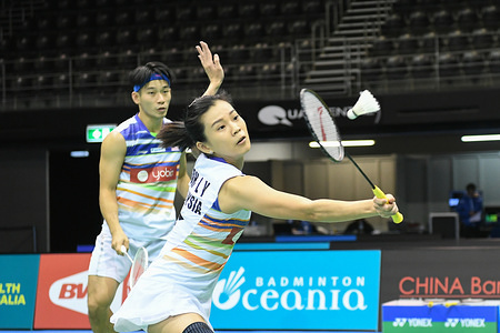 Chan Peng Soon and Goh Liu Ying (Malaysia) seen in action during the 2019 Australian Badminton Open Mixed Doubles Quarter Finals match against Praveen Jordan and Melati Daeva Oktavianti (Indonesia).   Chan and Goh lost the match 18-21, 20-22.